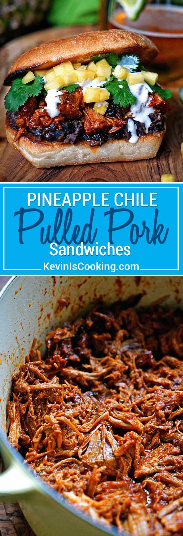 This slow simmered Pineapple Chile Pulled Pork is stuffed in a ciabatta roll, layered on top of mashed black beans, a drizzle of Mexican crema, cilantro and diced pineapple. One of those messy-but-worth-it sandwiches that packs the flavor punch!