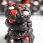 Get ready for your spooky celebration! These Dark Chocolate Halloween Cookies are a great addition to any party spread. They're soft, chewy, filled with chocolate and decorated with festive candy.