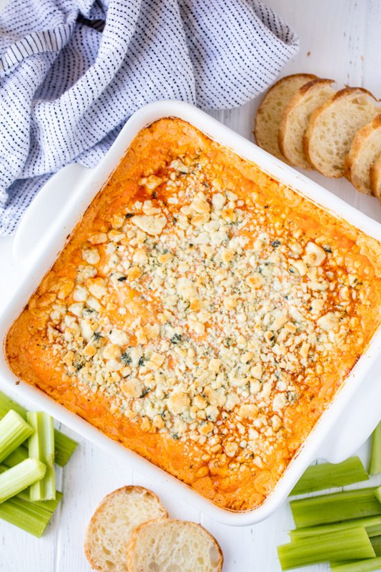 Frank's Buffalo Chicken Dip in a white serving dish