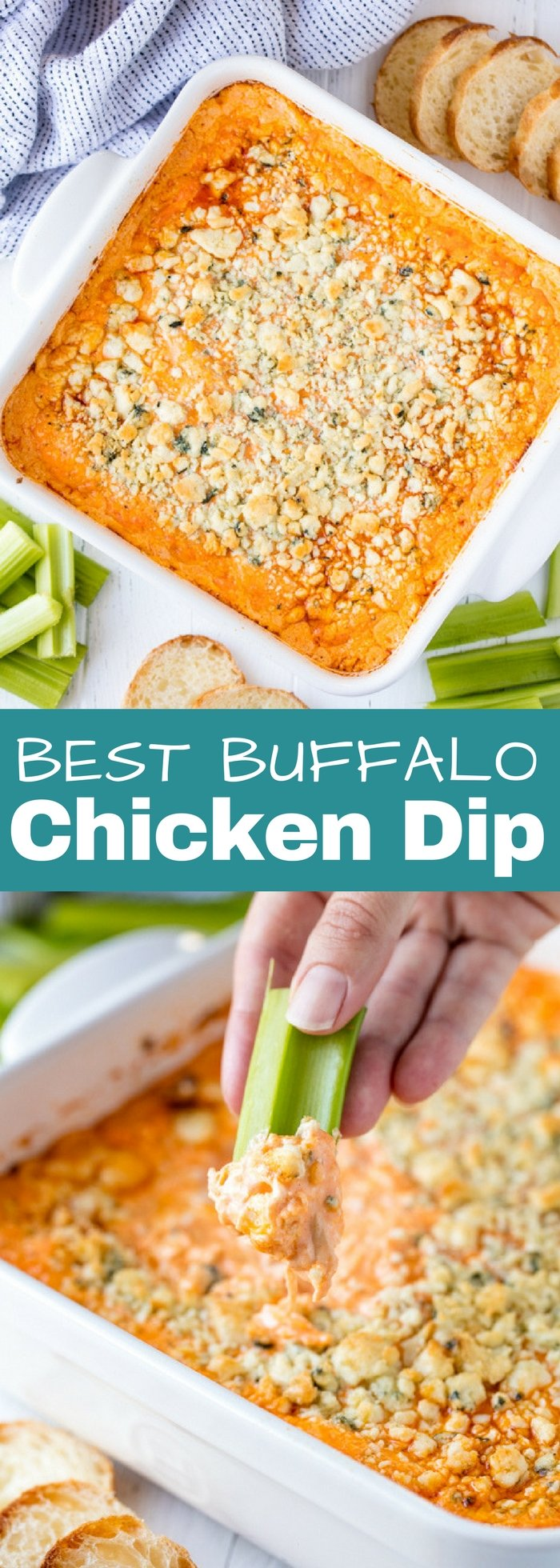 There's a reason why everyone loves Buffalo Chicken Dip! This spicy party food appetizer is full of classic buffalo wing flavors. Use Frank's Red Hot for the best buffalo chicken dip recipe ever!