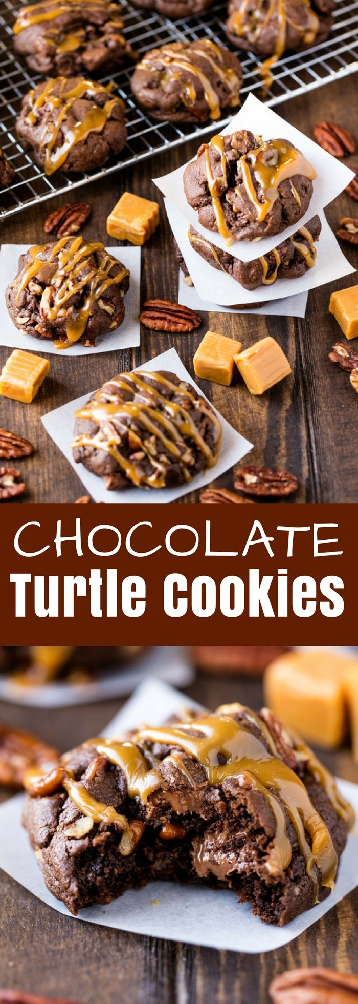 These Chocolate Turtle Cookies are ultra decadent, soft, and delicious. Any chocolate lover will go crazy for this delicious cookie recipe!