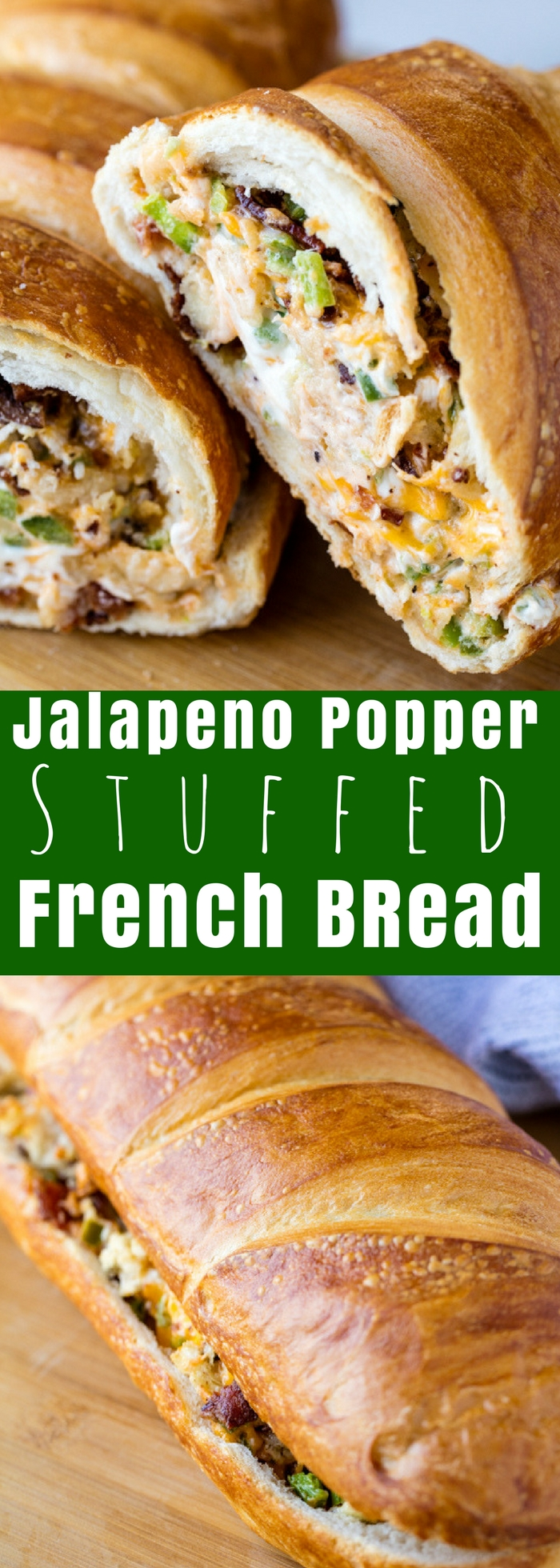 Do you love jalapeno poppers? Then you'll love this Cheesy Jalapeno Popper Stuffed French Bread. It takes all the flavors you love from jalapeno poppers, and puts into one easy appetizer or side dish that's super tasty!