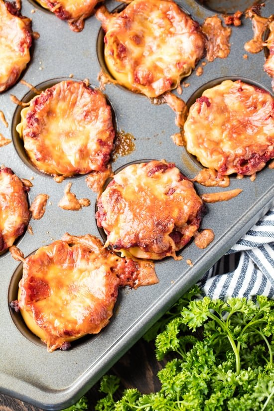 Mini Lasagna Cups baked in a muffin tin