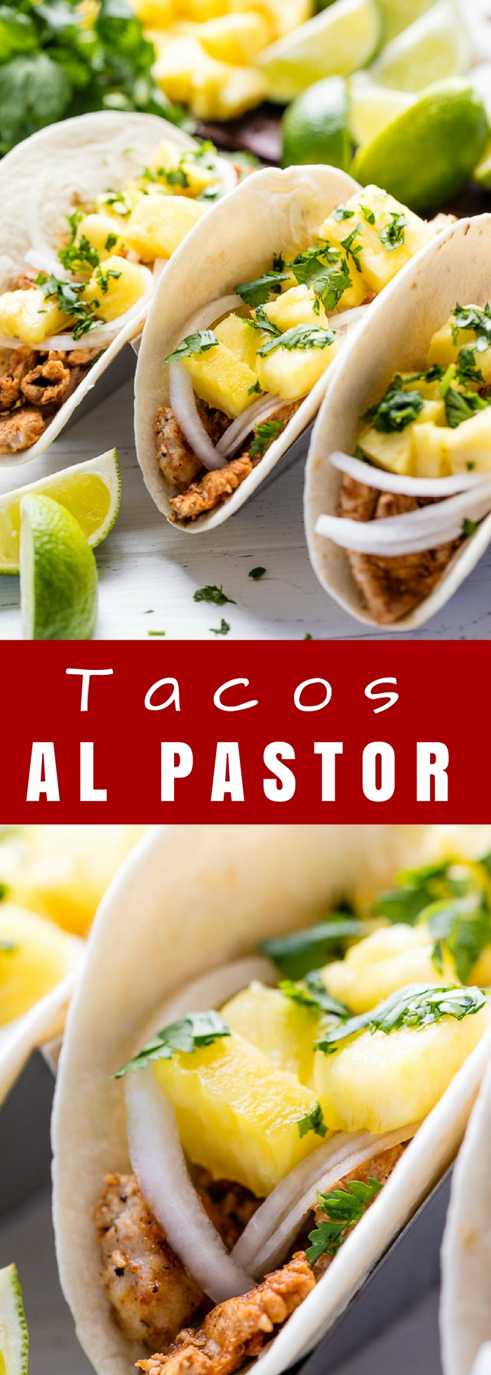 Tacos Al Pastor are thinly sliced pieces of marinated pork that make for the best taco. Serve them up with some sliced onion, pineapple, and cilantro and you have yourself a fantastic dinner your family will devour.