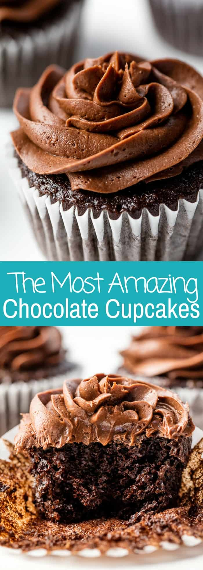 The Most Amazing Chocolate Cupcake Recipe is here!Moist, chocolatey perfection. These are the chocolate cupcakes you've been dreaming of!