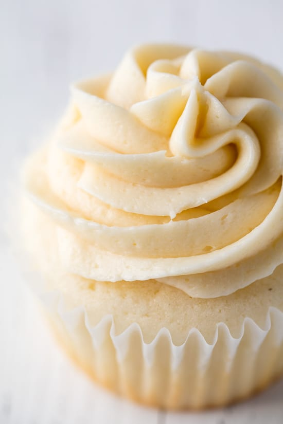 A closeup of Buttercream Frosting on a cupcake