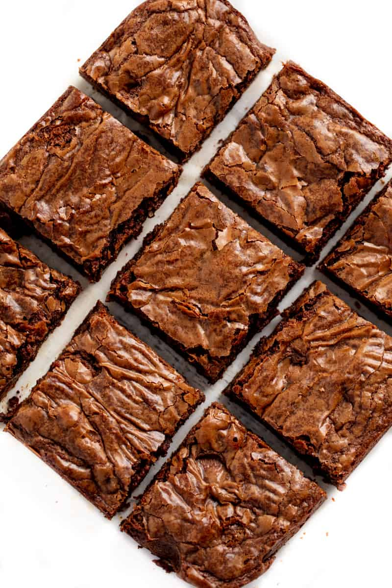 Bird's eye view of brownies cut into squares.