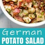 Old Fashioned German Potato Salad is dressed with a dijon vinegar dressing and can be served either hot or cold.
