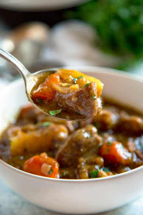 spoonful of bowl of Irish Stew