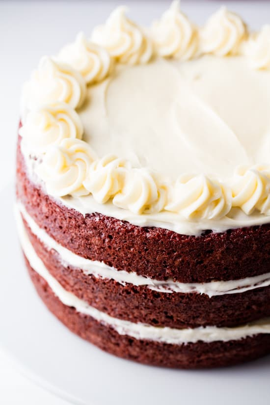 3 layer Red Velvet Cake with cream cheese frosting