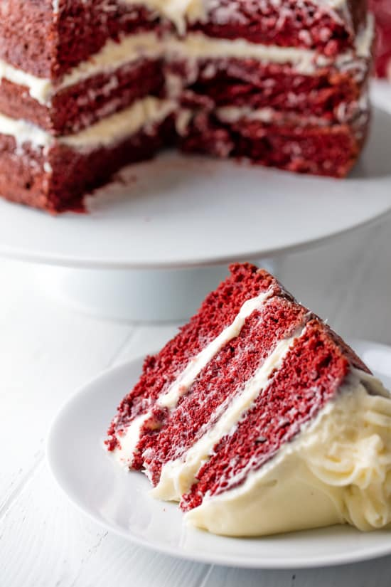 Red Velvet Cake with one slice removed