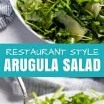 Restaurant Style Arugula Salad is the perfect fresh and light side dish for any meal. This super simple salad is used in restaurants all over the world.