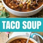 This taco soup recipe is as delicious as it is easy to make!  Everything can be tossed together in a single pot and you'll have a flavorful soup ready in 30 minutes!