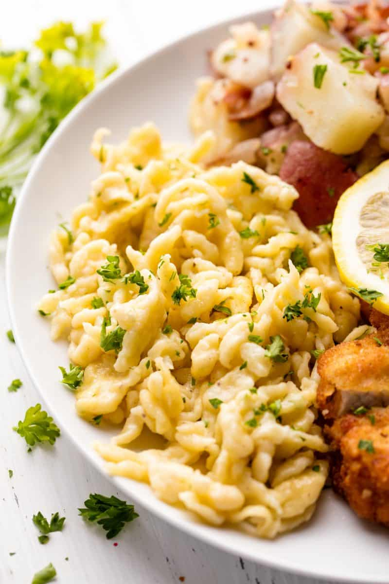 German Spaetzle served up on a white plate.