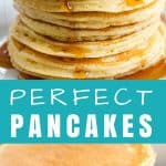 The Perfect Homemade Pancake Recipe is easy to make with ingredients you probably already have on hand. This recipe can easily be turned into a pancake mix or into buttermilk pancakes as well. It's the perfect versatile all-in one recipe.