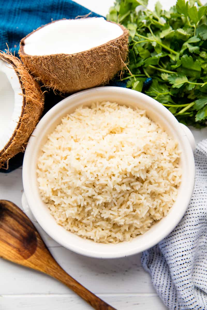 Coconut Rice in a white bowl.