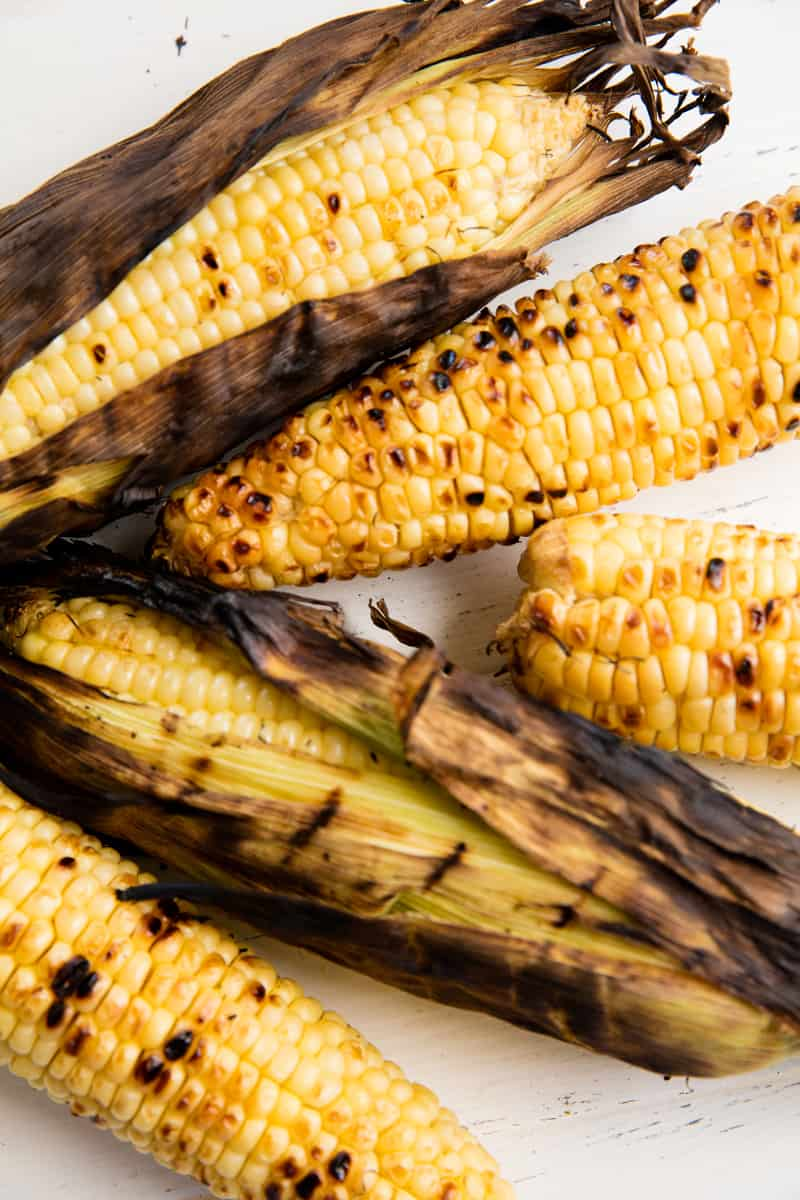 Bird's eye view of five cobs of Grilled Corn