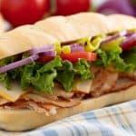 Hoagie Sandwich on a table cloth.