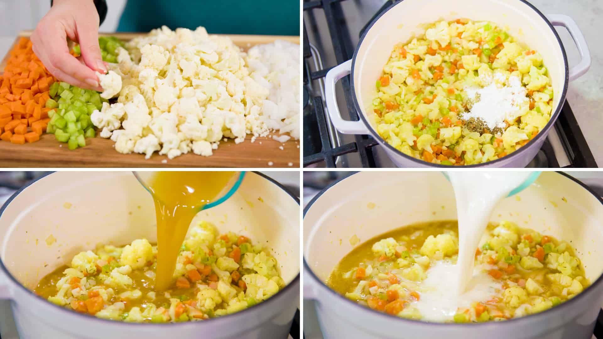 Process photos for How to Make Cauliflower Soup
