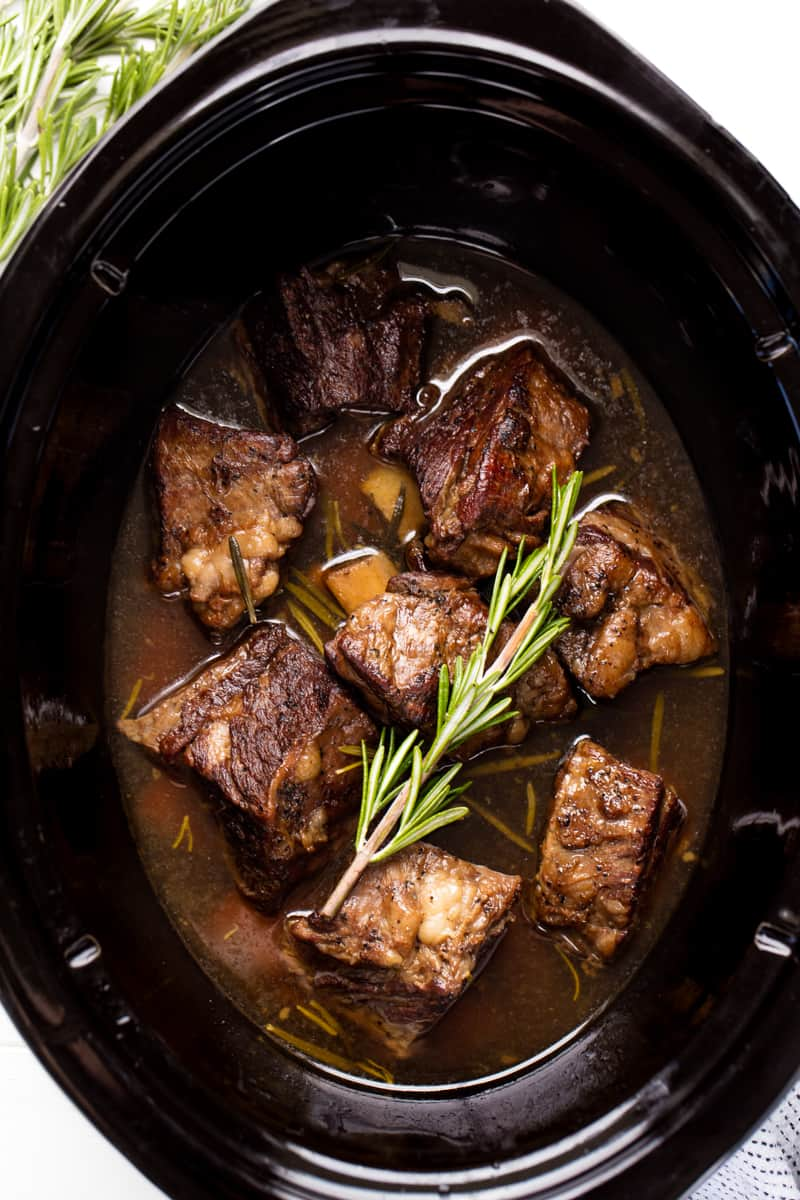 beef short ribs in the slow cooker.