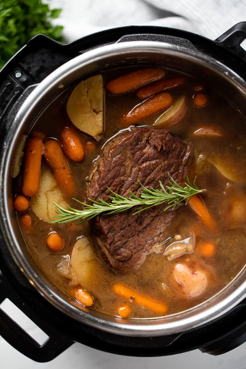 Bird's eye view of a Instant Pot Pot Roast