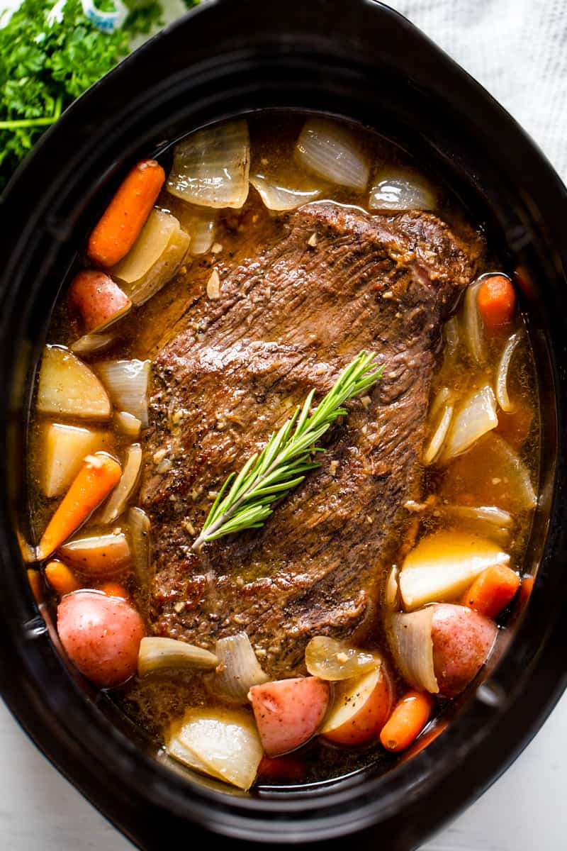 Bird's eye view of a Pot Roast in a slow cooker.