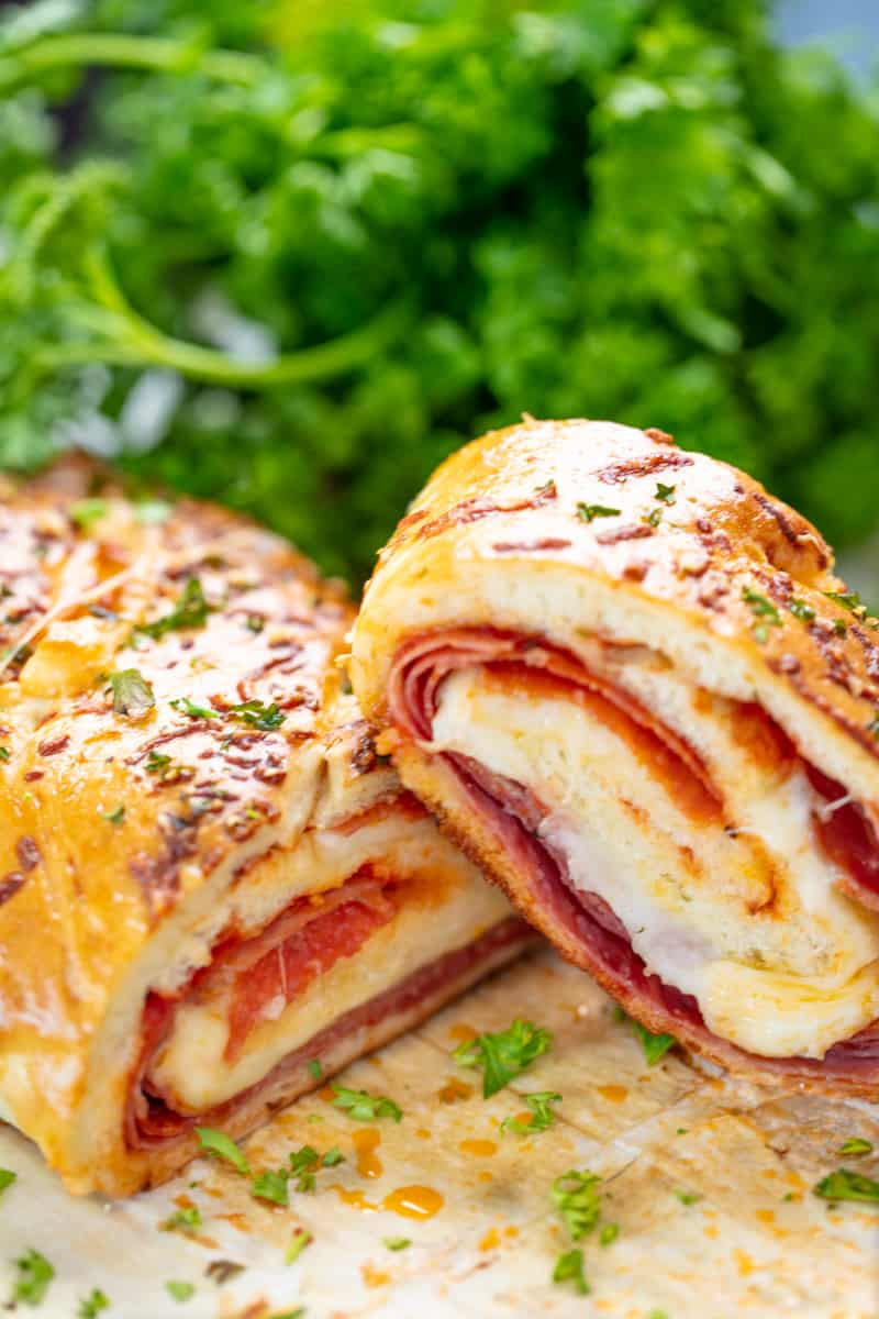 Stromboli cut in half to show the insides.