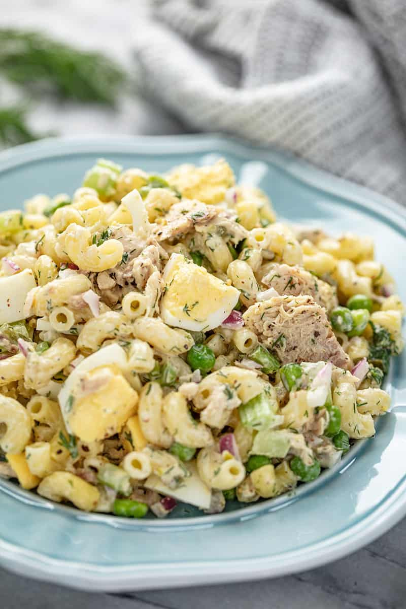 Tuna Macaroni Salad served up on a blue plate.