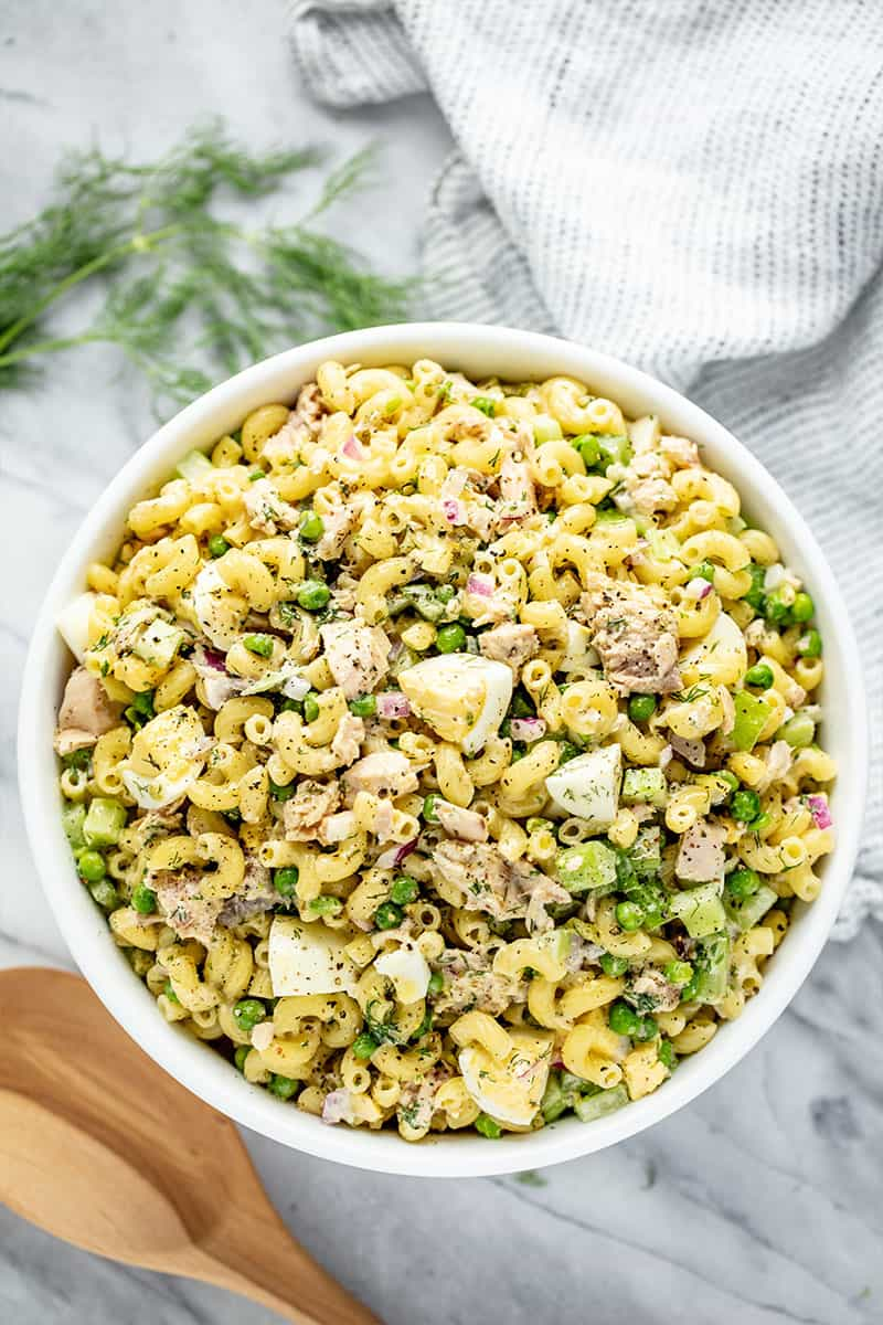 Bird's eye view of Tuna Macaroni Salad in a white bowl.