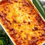 Bird's eye view of Zucchini Lasagna in a cooking dish.