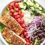 Bird's eye view of Balsamic Salmon Salad in a white bowl.