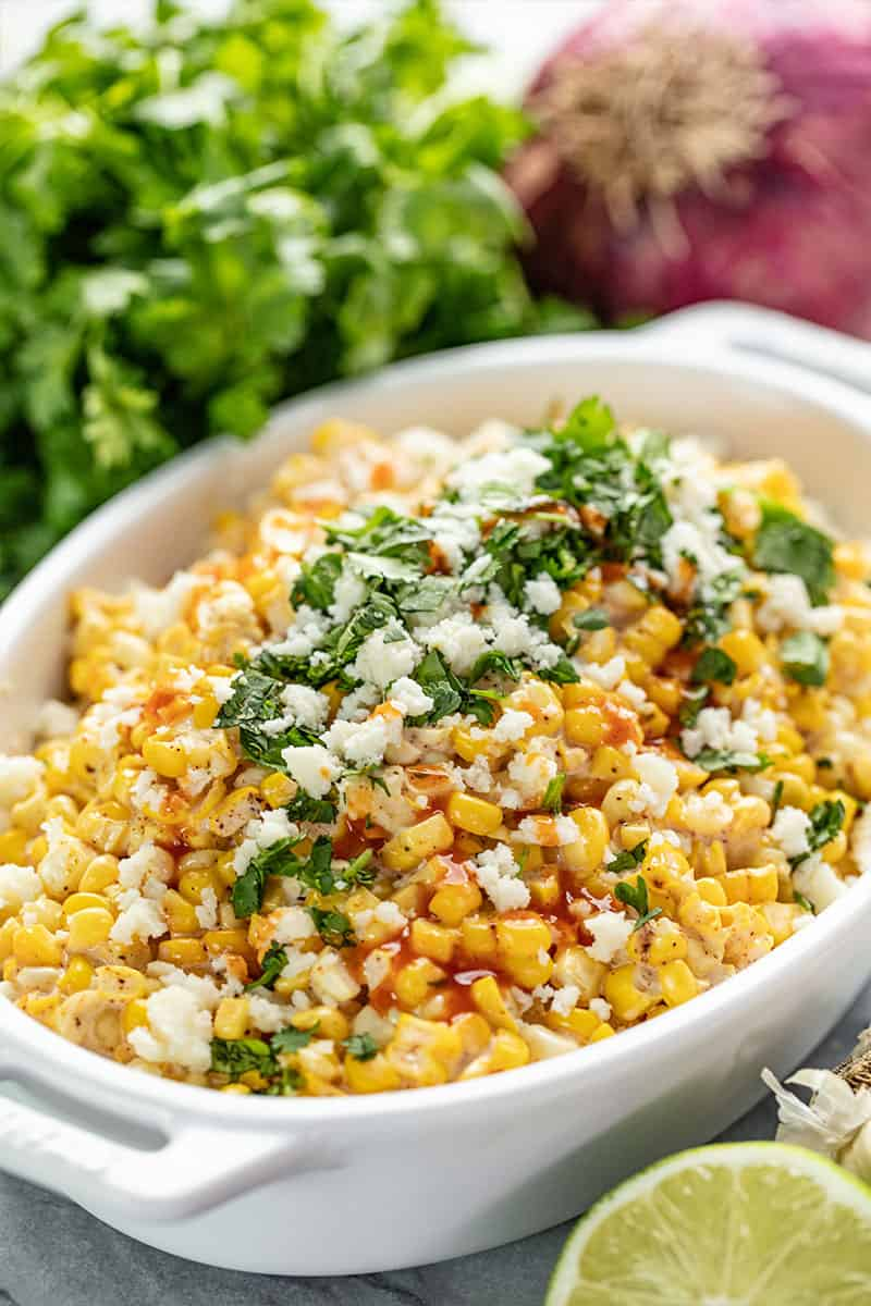 Street Corn Salad in a white dish.