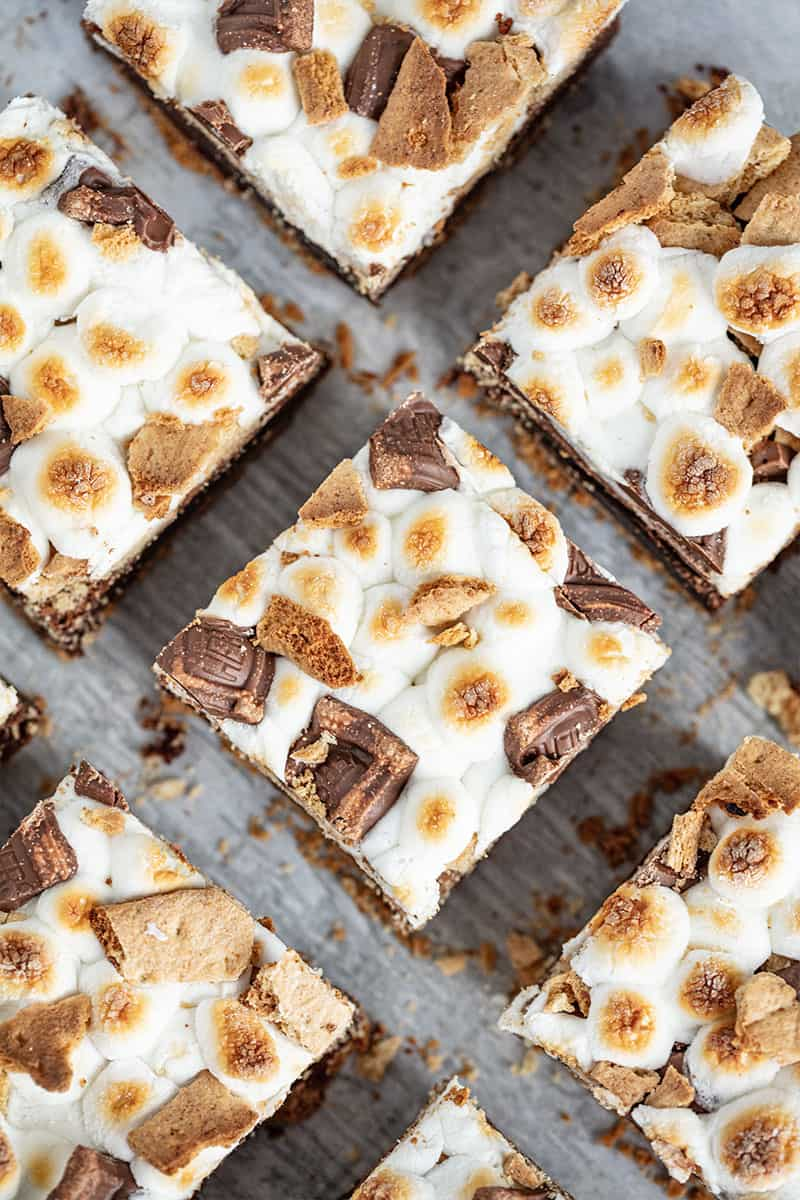 Bird's eye view of S'mores Brownies cut into squares.