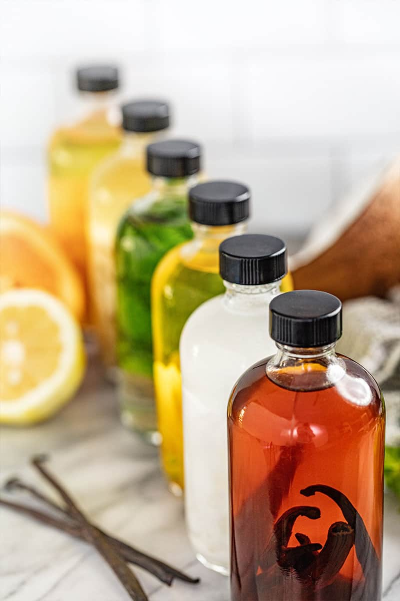 A line of Homemade Extracts in multiple flavors in bottles.