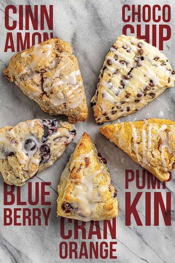 British Scones in various flavors. Chocolate Chip scones, Pumpkin Scones, Cranberry Orange Scones, Blueberry Scones, and Cinnamon Scones