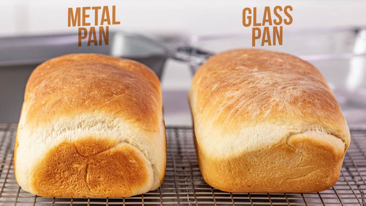 Visual  Difference between metal pans and glass pans for baking bread