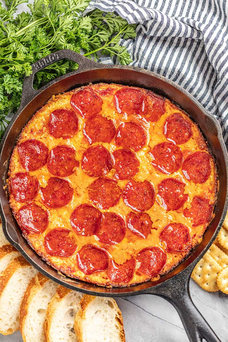Pizza Dip in a skillet