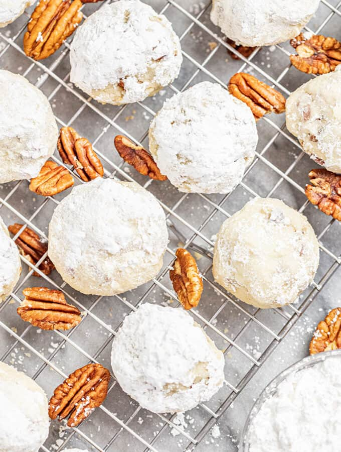 Pecan Sandies on a wire cooling rack
