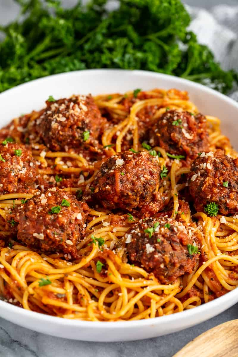 Spaghetti and Meatballs in a white dish