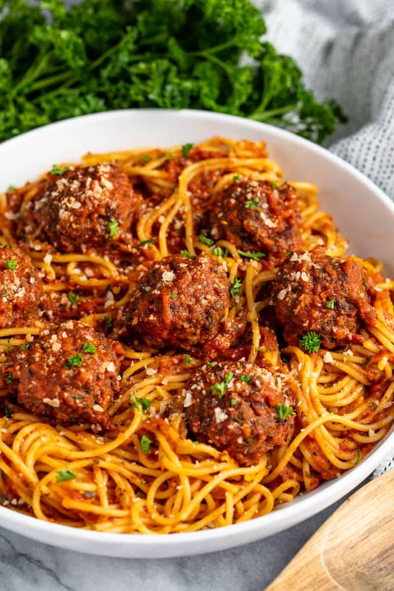 Spaghetti and Meatballs in a white dish