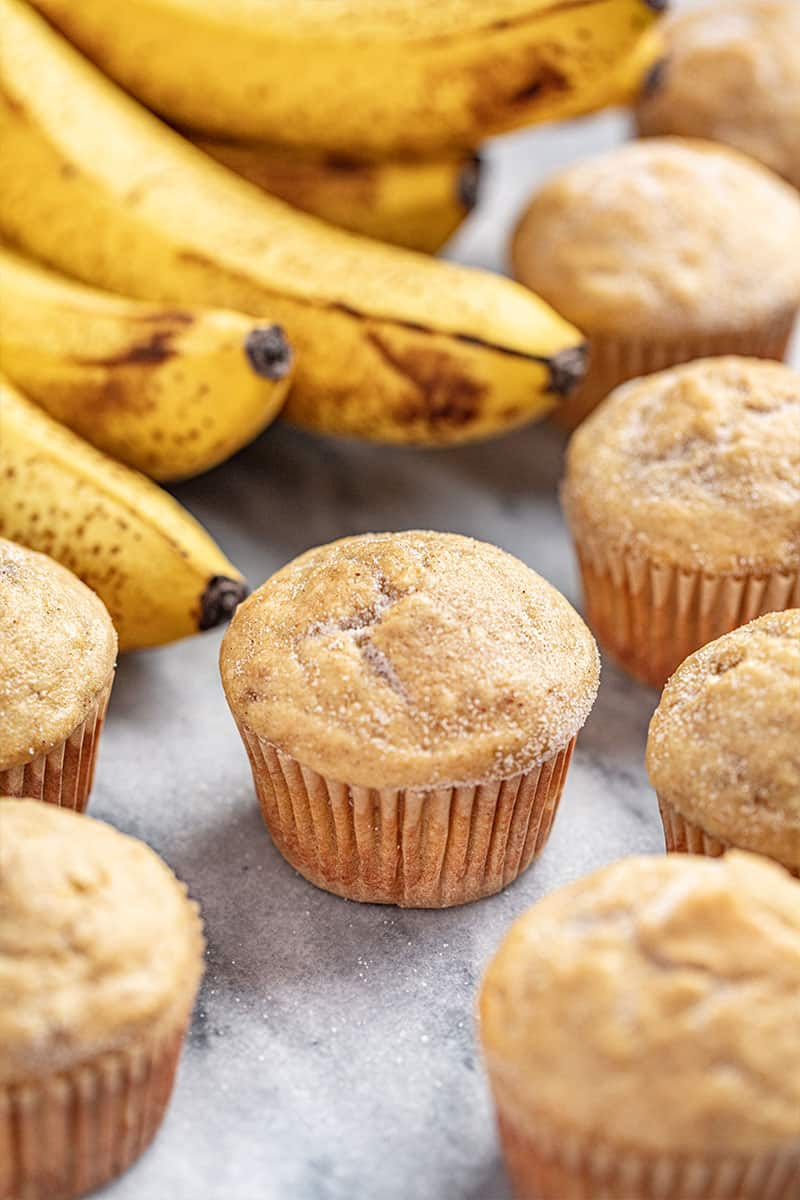 Banana Muffins sprinkled with cinnamon sugar