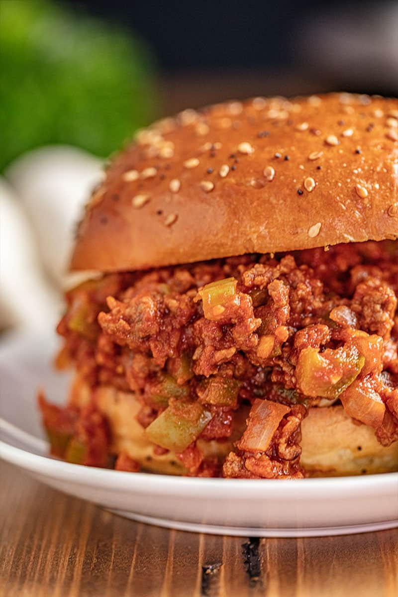 Sloppy Joe on white plate