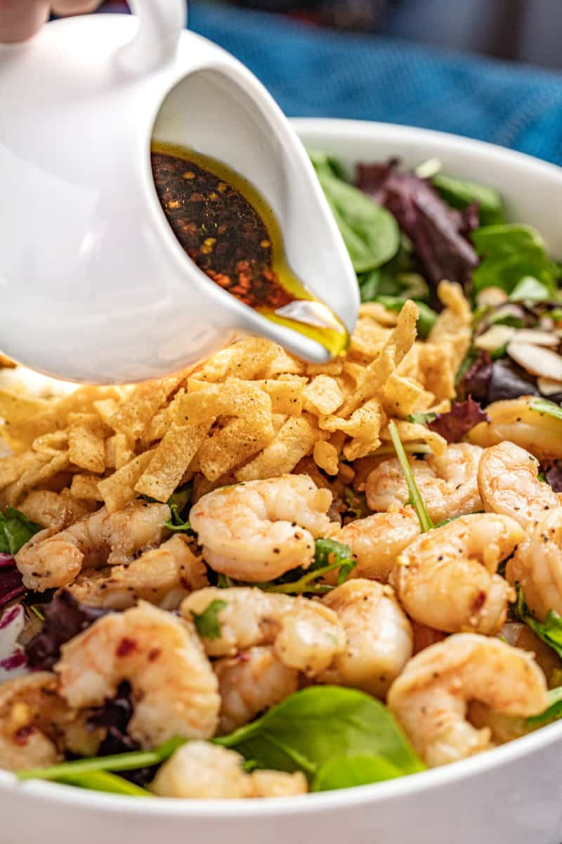 Chili-lime vinaigrette is poured over Thai Shrimp Salad