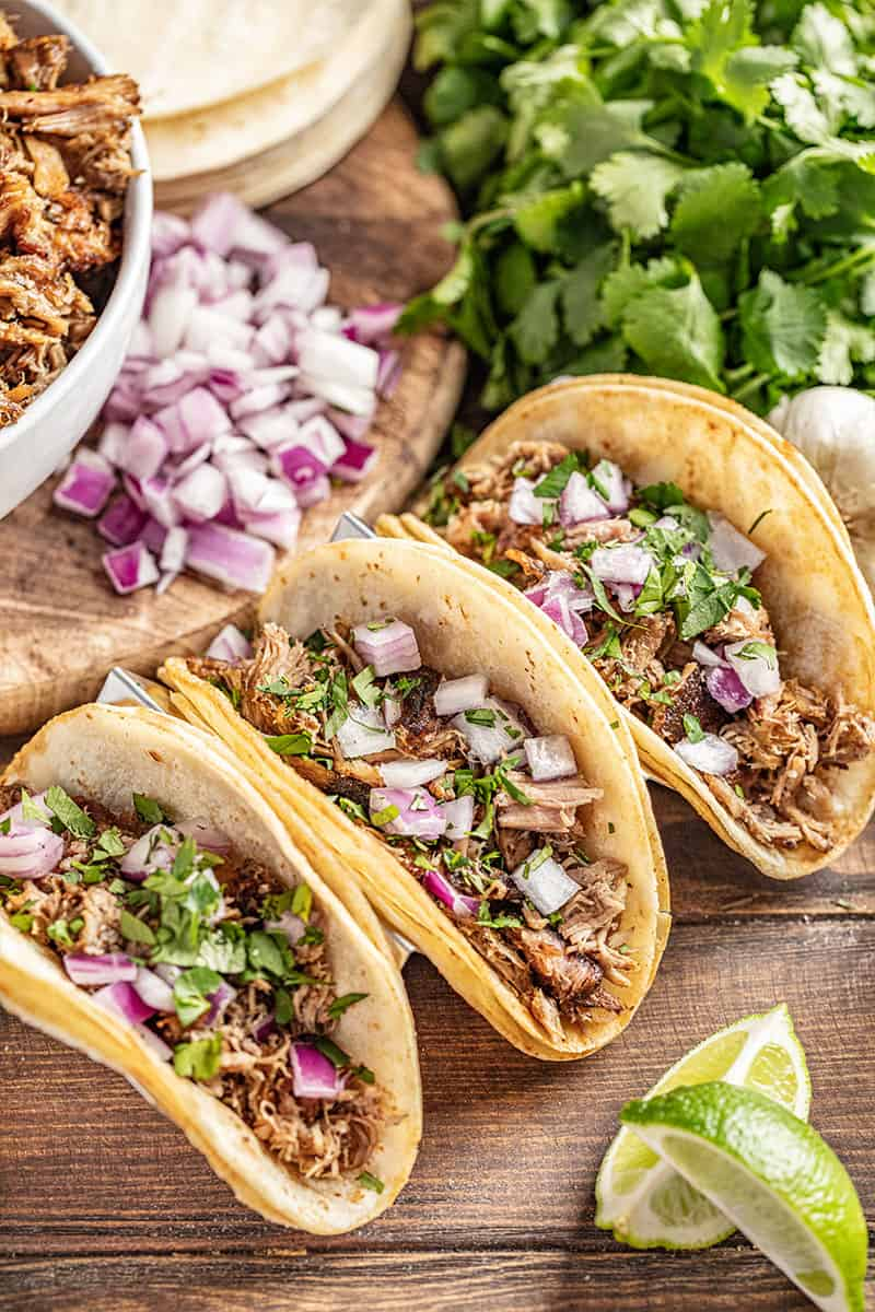 Crockpot carnitas in tacos