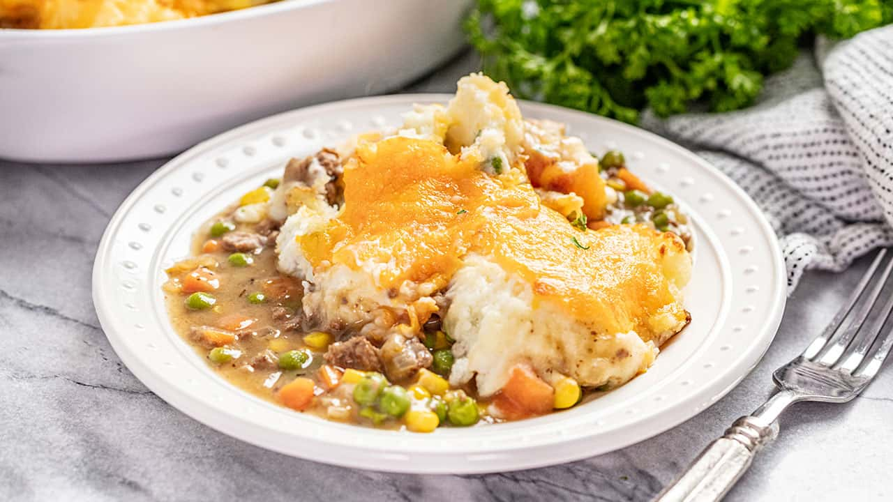 Serving of shepherd's pie on a white plate