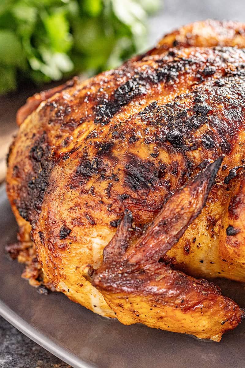 Oven roasted Peruvian chicken on a platter