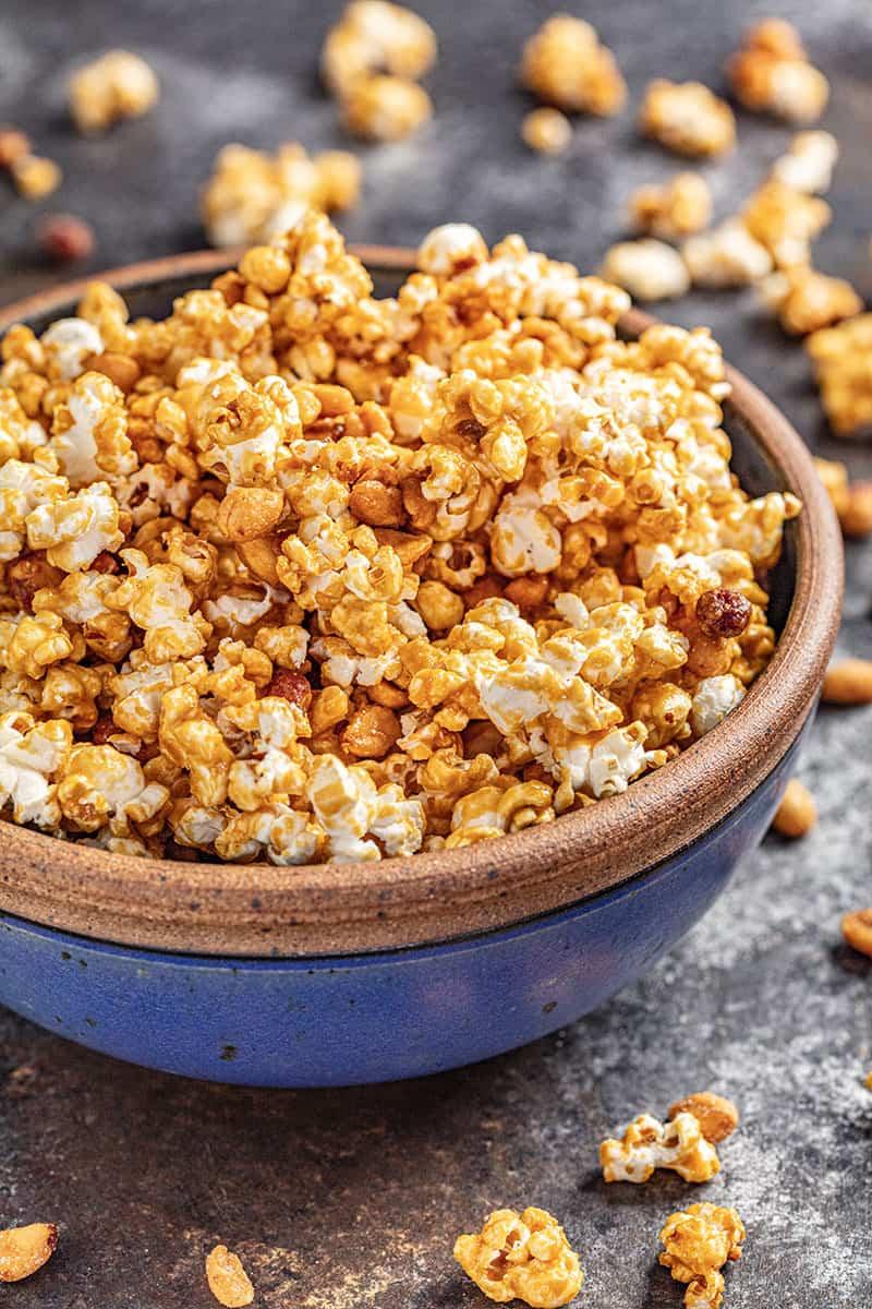 Honey roasted caramel corn in a bowl
