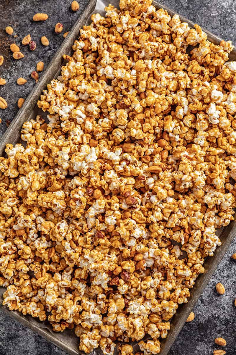 Honey roasted caramel corn on a baking sheet