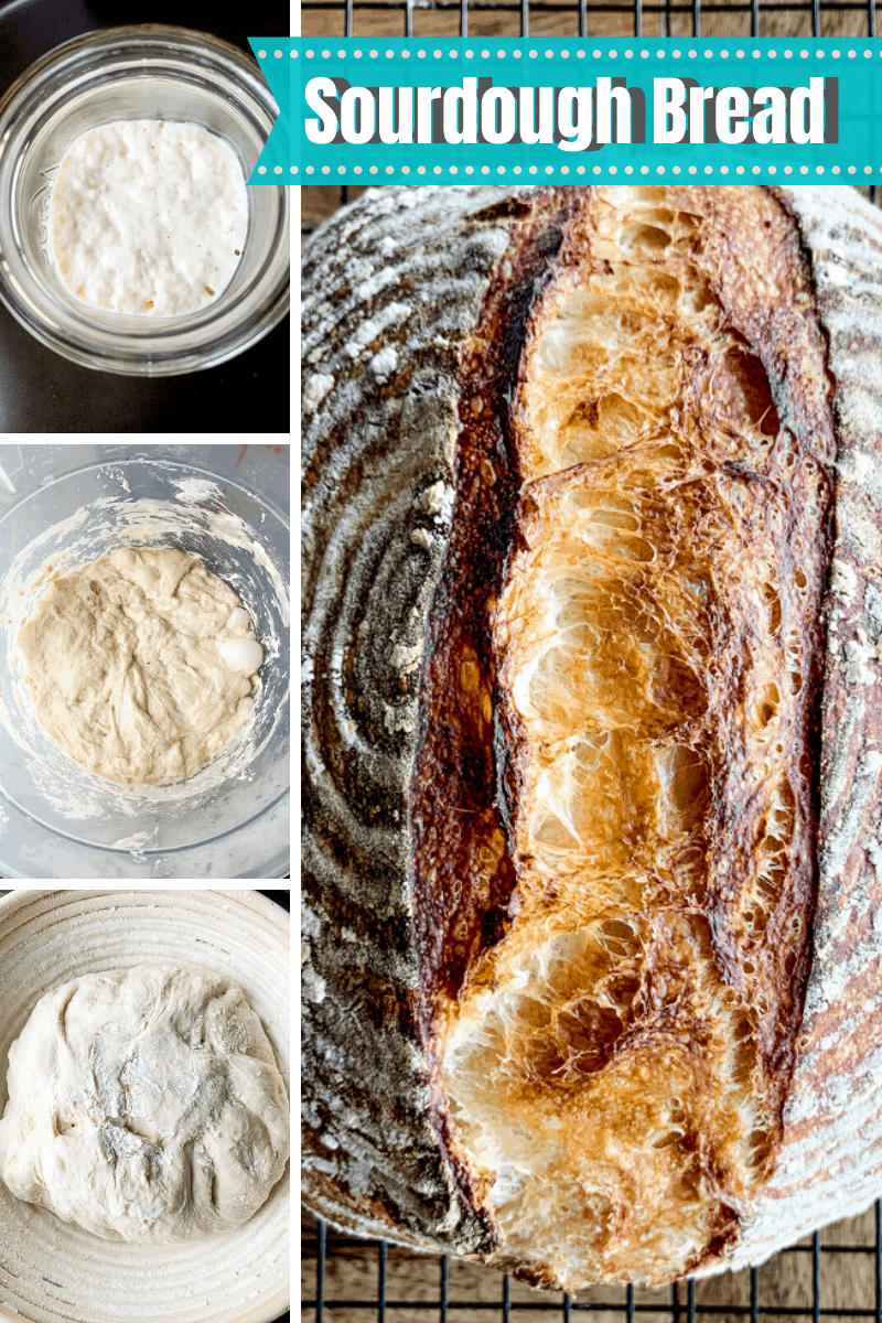 Collage of photos of step by step how to make sourdough bread