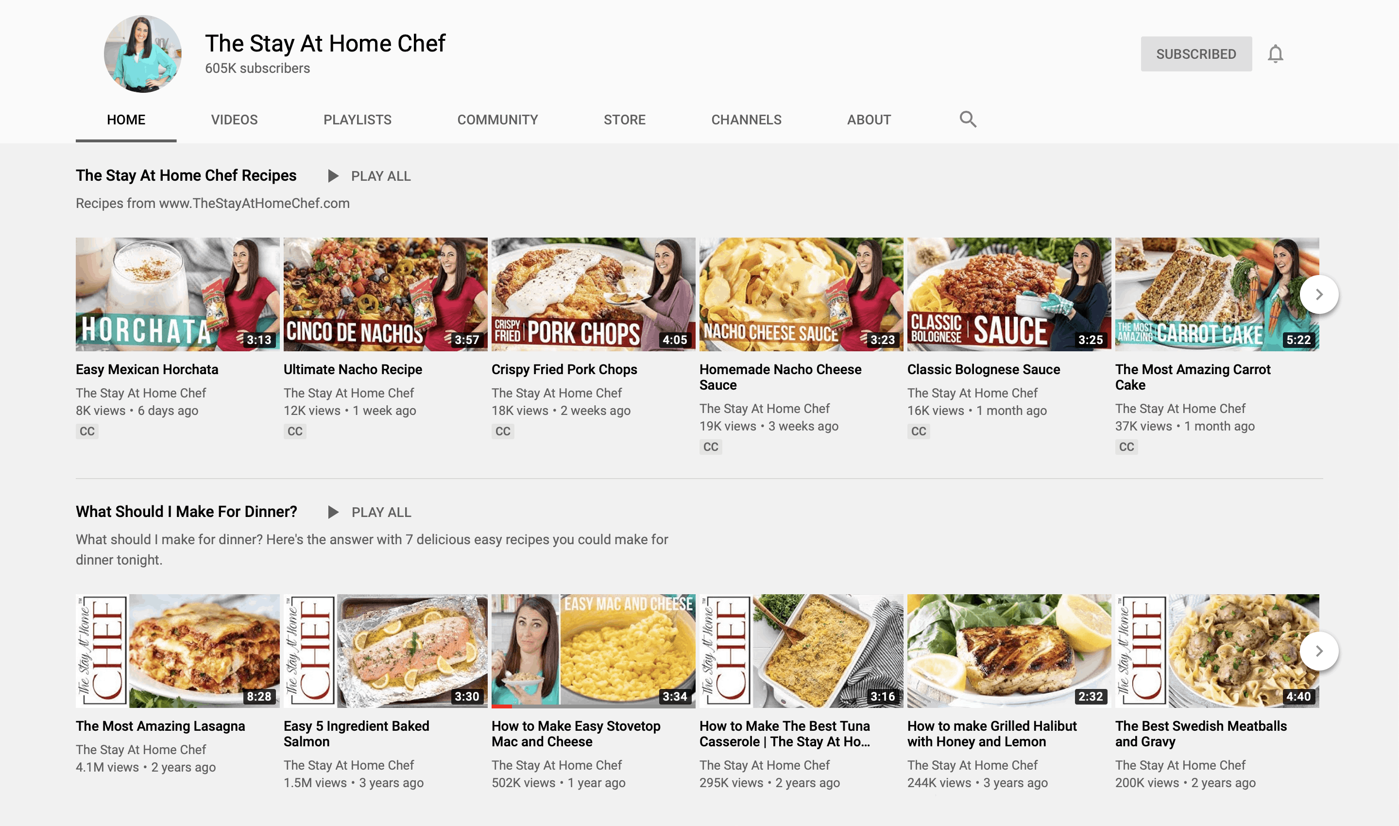 Section of YouTube channel for The Stay At Home Chef.